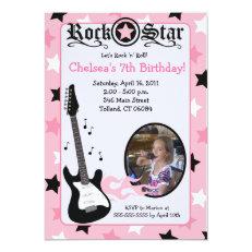 Pink Rock Star Guitar *PHOTO* Birthday 5x7 5x7 Paper Invitation Card