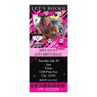 Pink Rock Star Kitty Cat Pink Ticket VIP Party Card