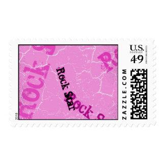 Pink Rock Star Postage Stamp