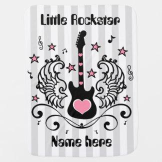 Pink rocker star guitar with wings custom baby blankets