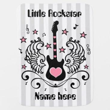 Toddler & Baby themed Pink rocker star guitar with wings custom receiving blanket