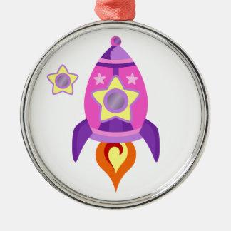 Pink Rocket Ship Metal Ornament