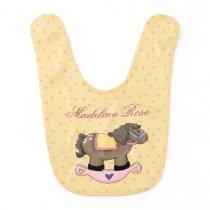 Pink Rocking Horse And Hearts Reversible Bib