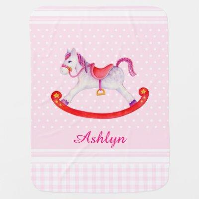 pretty carousel horse name initial baby blanket | Zazzle com