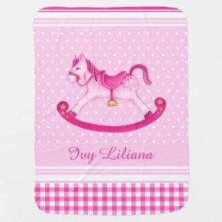 Pink rocking horse baby blanket