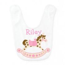 Pink Rocking Horse Baby Bib