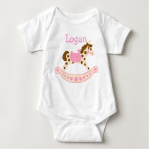 Pink Rocking Horse Baby Bodysuit