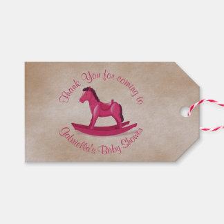 Pink Rocking Horse Baby Girl Custom Gift Tags