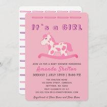 Pink Rocking Horse Baby Girl Shower Invitation