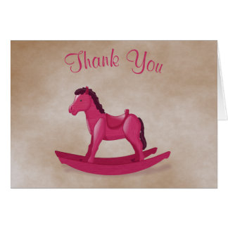 Pink Rocking Horse Baby Girl Thank You Card