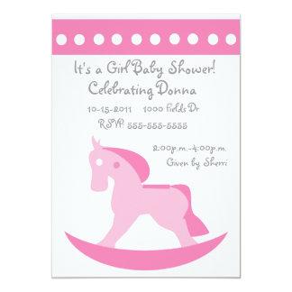 Pink Rocking Horse Baby Shower Invitation