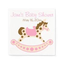 Pink Rocking Horse Baby Shower Napkin