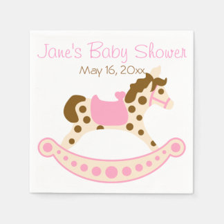Pink Rocking Horse Baby Shower Napkin
