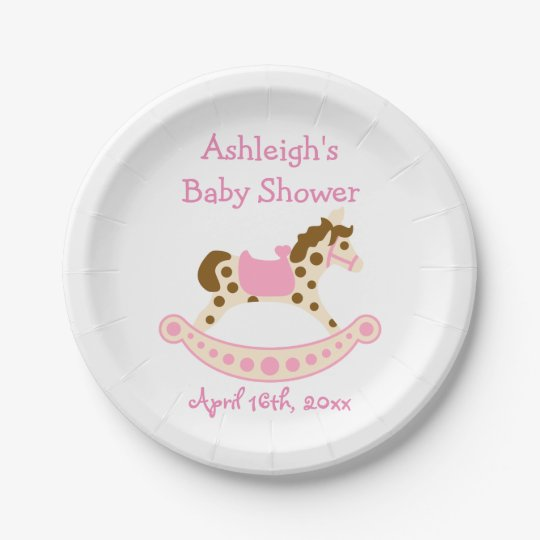 Pink Rocking Horse Baby Shower Paper Plate Zazzle