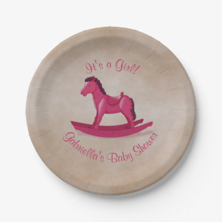 Pink Rocking Horse Baby Shower Paper Plate