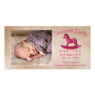 Pink Rocking Horse Birth Announcement
