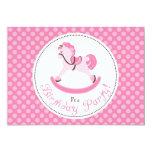 Pink Rocking Horse Birthday 5x7 Paper Invitation Card