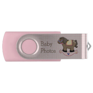 Pink Rocking Horse Custom Swivel USB Drive Swivel USB 2.0 Flash Drive