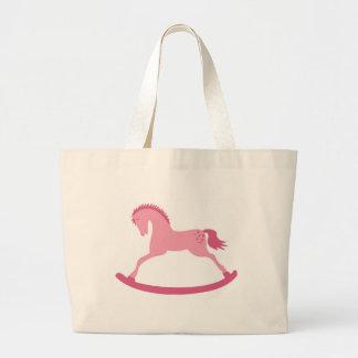 Pink Rocking Horse Jumbo Tote Bag