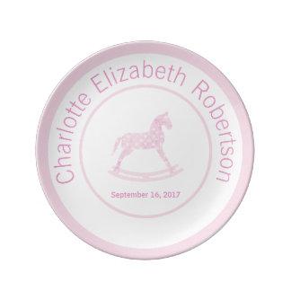 Pink Rocking Horse Keepsake Birthday Plate