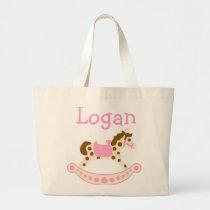 Pink Rocking Horse Large Tote Bag
