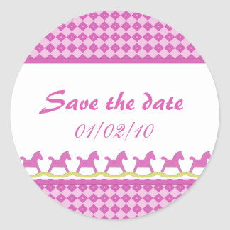 Pink Rocking Horse Save the Date Stickers