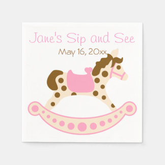 Pink Rocking Horse Sip and See Standard Cocktail Napkin