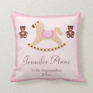 Pink Rocking Horse Teddies New Baby Pillow