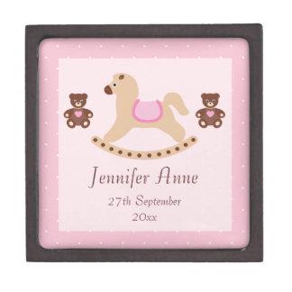 Pink Rocking Horse & Teddies New Baby Premium Trinket Boxes