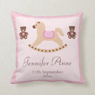 Pink Rocking Horse & Teddies New Baby Throw Pillow