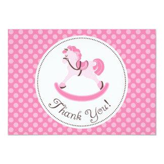 Pink Rocking Horse Thank You Card