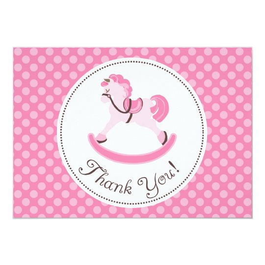 Pink Rocking Horse Thank You Card