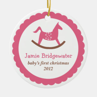 Pink rocking toy horse baby s first christmas ornaments