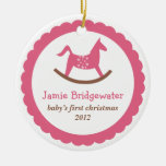 Pink rocking toy horse baby's first christmas ornaments