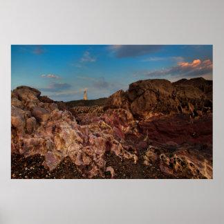 Pink rocks and Llanddwyn Island Poster