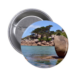 Pink rocks of Ploumanac'h in France Pinback Button