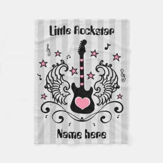 Pink Rockstar guitar with wings Fleece Blanket