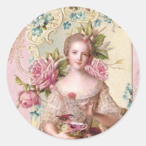 Pink Rococo Envelope Seal (Top10) Round Sticker