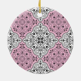 Pink Rococo Pattern Flourish Ceramic Ornament