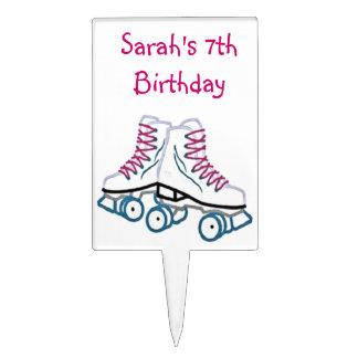 Pink Roller Skate Birthday Cake Topper