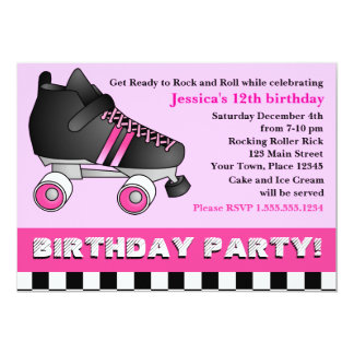 Pink Roller Skate Birthday Party Card