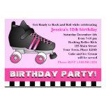 Pink Roller Skate Birthday Party Custom Invitations