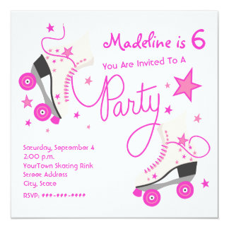 Pink Roller Skate Party Invitation
