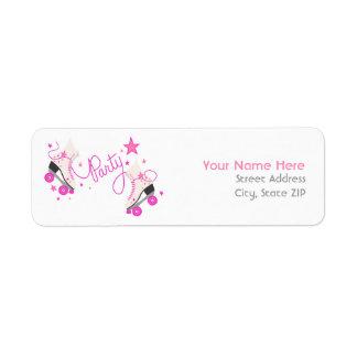 Pink Roller Skates Birthday Party Address Labels
