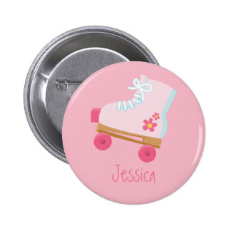 Pink Rollerskates Button