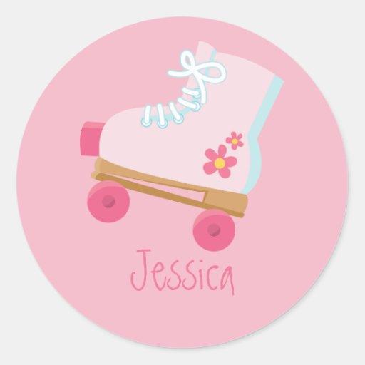 Pink Rollerskates Stickers