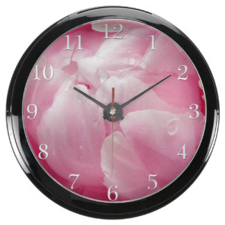 Pink romance blooming peony flower with dew drops aquarium clock