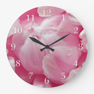 Pink romance blooming peony flower with dew drops wall clock