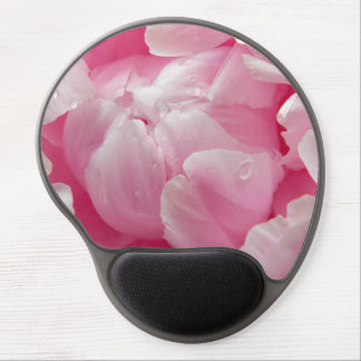 Pink romance blooming peony flower with dew drops gel mousepads