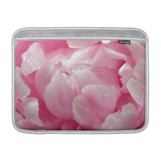 Pink romance blooming peony flower with dew drops sleeves for MacBook air